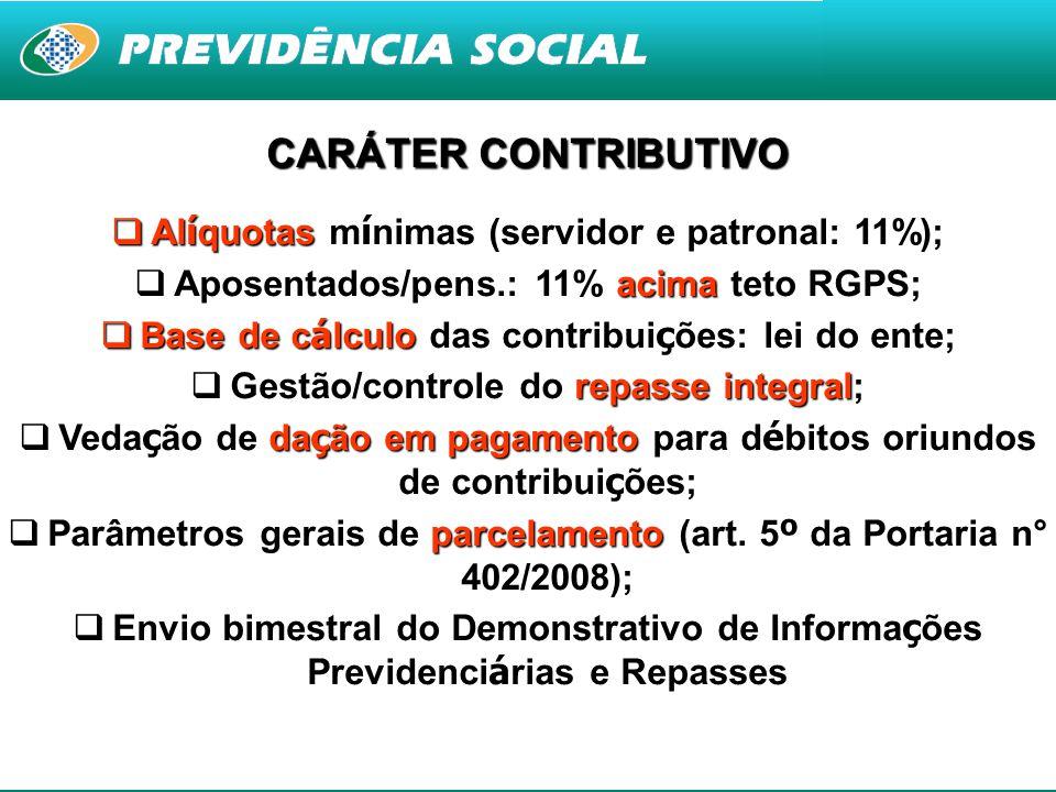 CARÁTER CONTRIBUTIVO Alíquotas mínimas (servidor e patronal: 11%);
