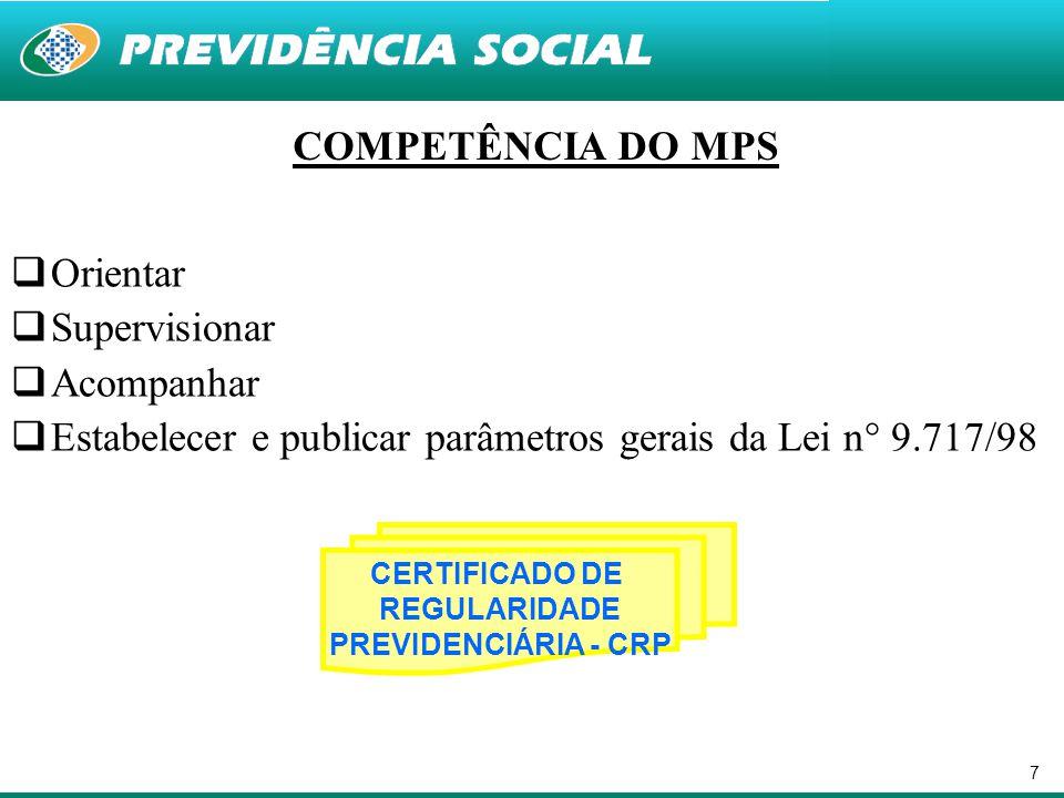 Estabelecer e publicar parâmetros gerais da Lei n° 9.717/98