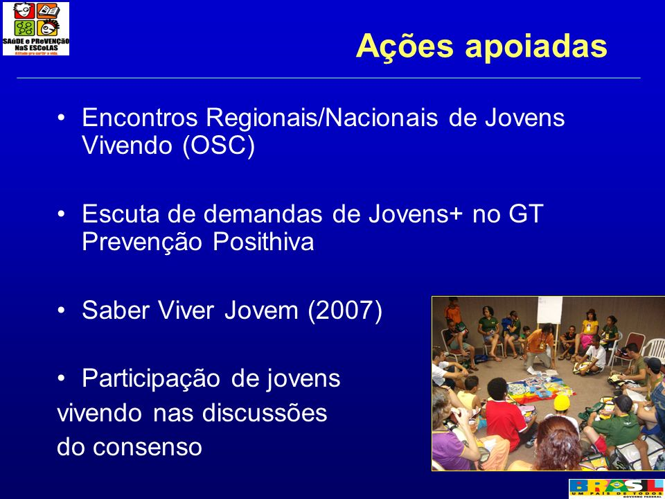 Ações apoiadas Encontros Regionais/Nacionais de Jovens Vivendo (OSC)