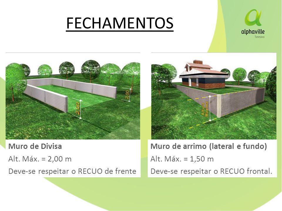 FECHAMENTOS Muro de Divisa Alt. Máx. = 2,00 m