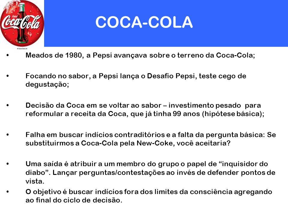 COCA-COLA Meados de 1980, a Pepsi avançava sobre o terreno da Coca-Cola; Focando no sabor, a Pepsi lança o Desafio Pepsi, teste cego de degustação;