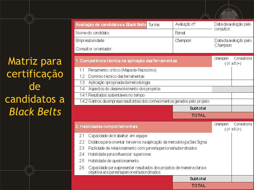 Matriz para certificação de candidatos a Black Belts
