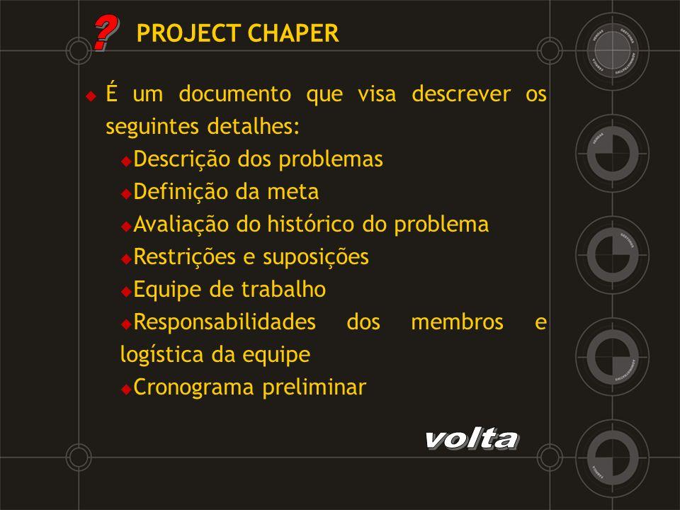 PROJECT CHAPER É um documento que visa descrever os seguintes detalhes: Descrição dos problemas.