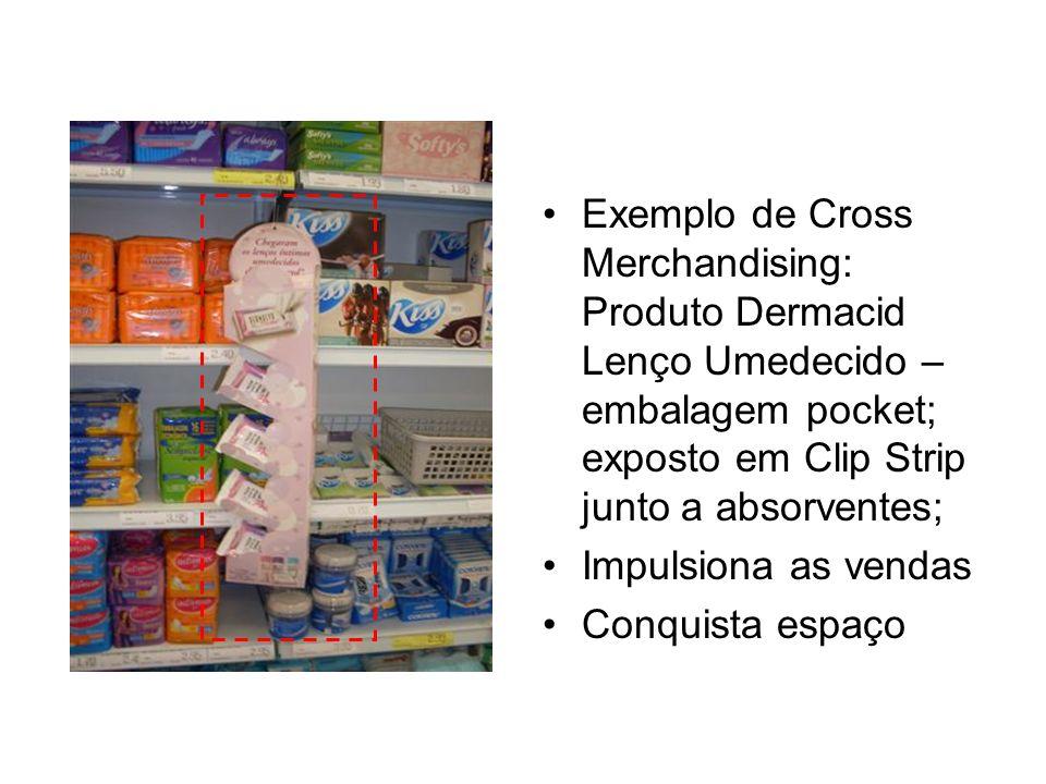 Exemplo de Cross Merchandising: Produto Dermacid Lenço Umedecido – embalagem pocket; exposto em Clip Strip junto a absorventes;