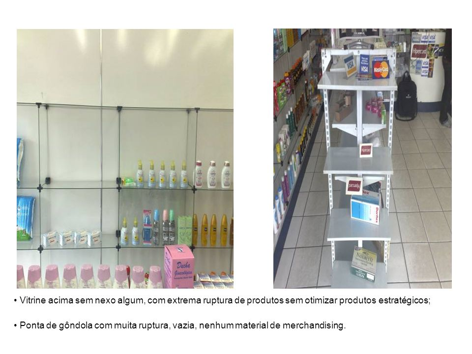 Vitrine acima sem nexo algum, com extrema ruptura de produtos sem otimizar produtos estratégicos;