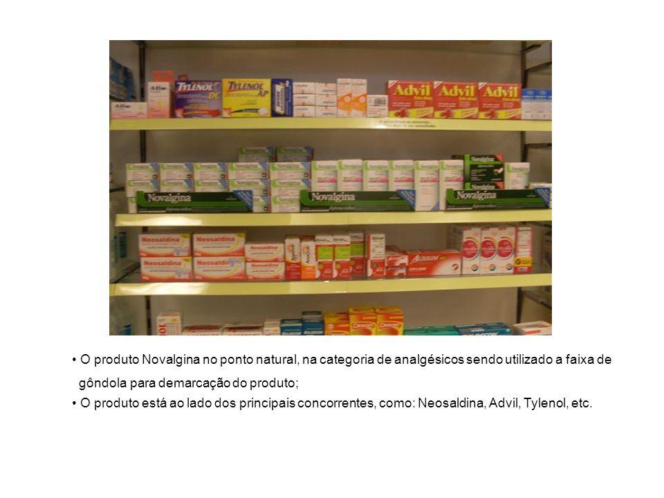O produto Novalgina no ponto natural, na categoria de analgésicos sendo utilizado a faixa de