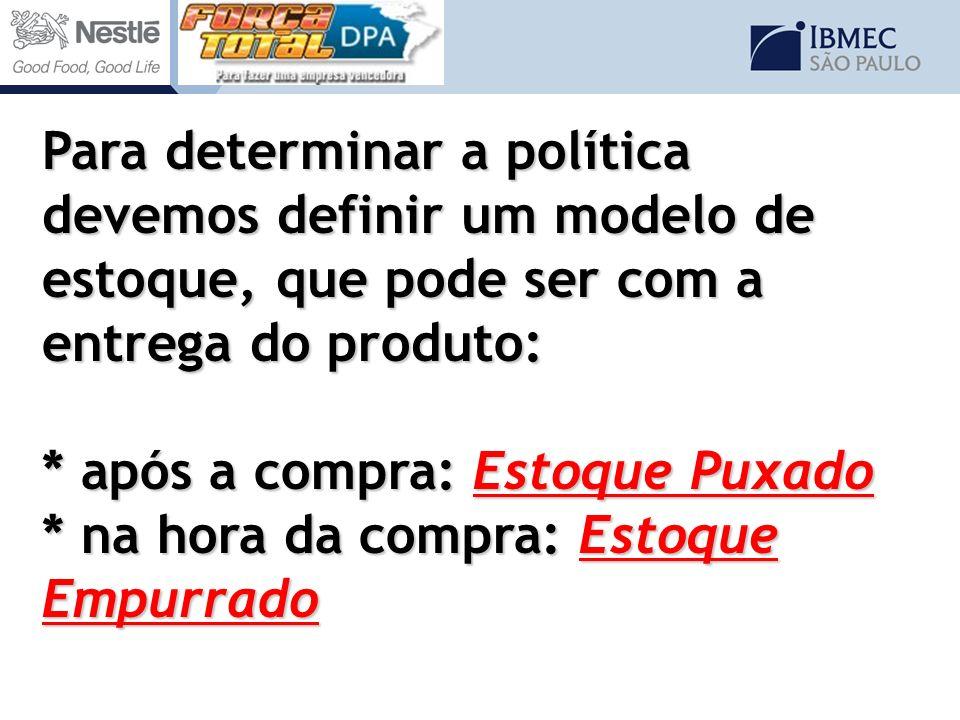 Para determinar a política devemos definir um modelo de estoque, que pode ser com a entrega do produto: