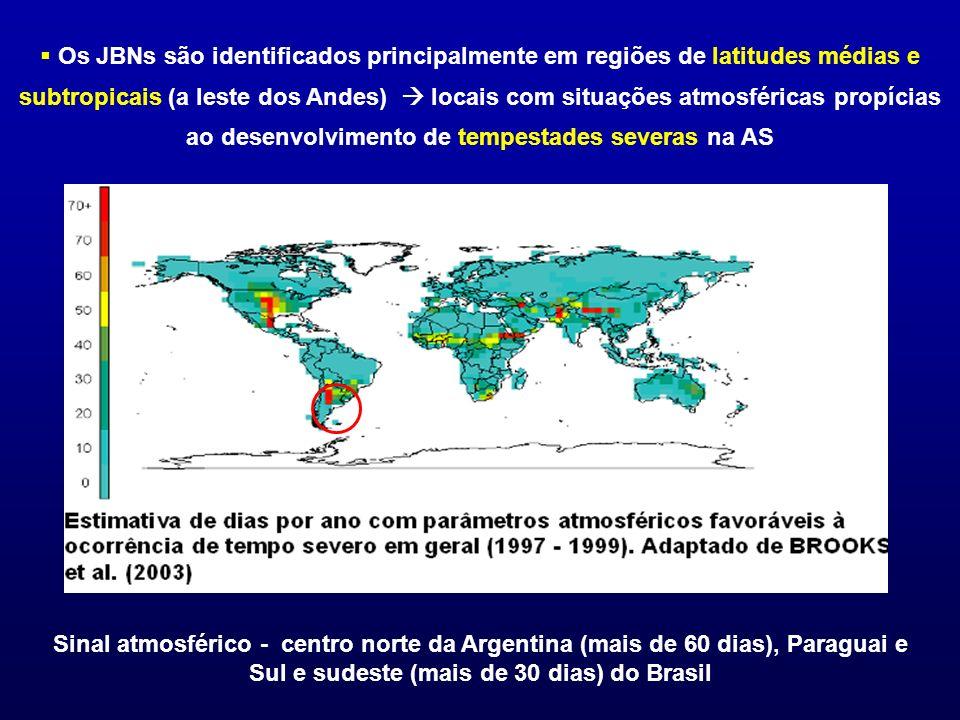 Os JBNs são identificados principalmente em regiões de latitudes médias e subtropicais (a leste dos Andes)  locais com situações atmosféricas propícias ao desenvolvimento de tempestades severas na AS