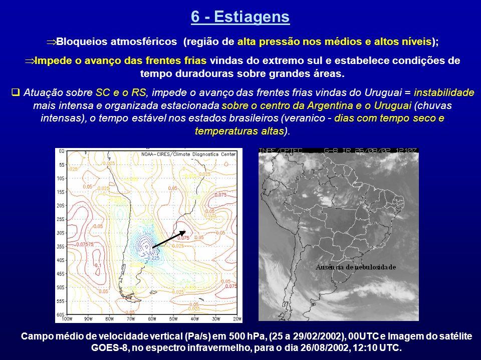 6 - EstiagensBloqueios atmosféricos (região de alta pressão nos médios e altos níveis);