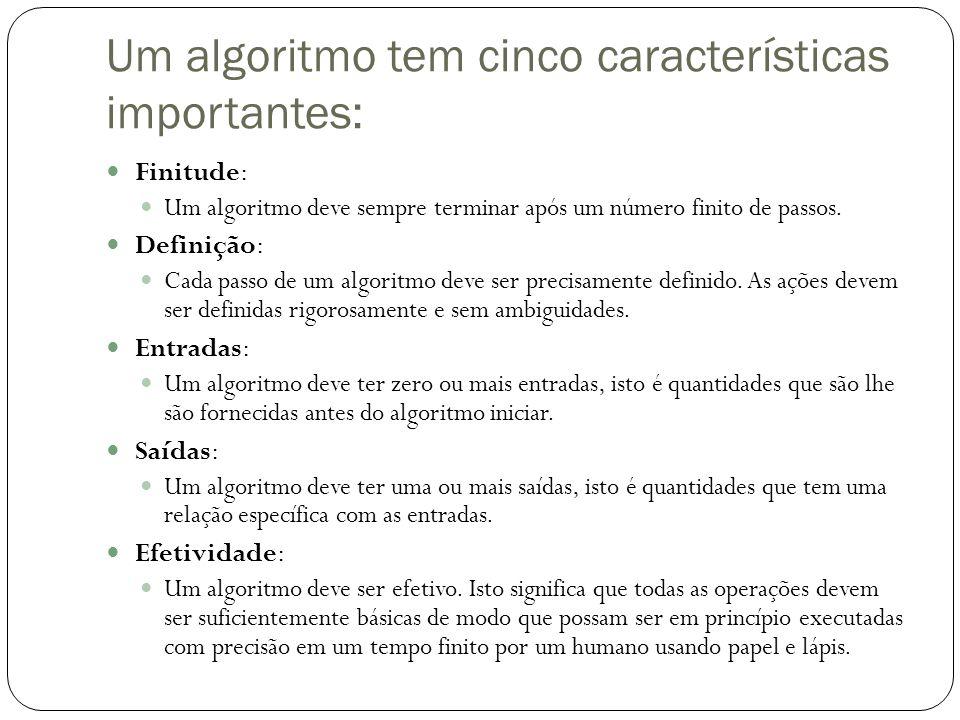 Um algoritmo tem cinco características importantes: