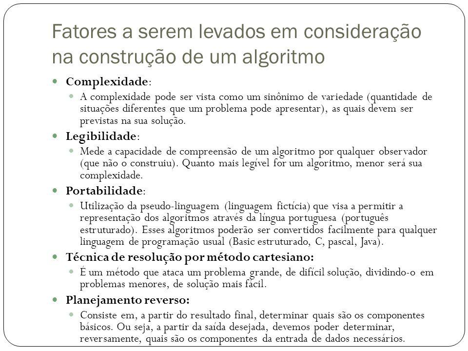 Fatores a serem levados em consideração na construção de um algoritmo