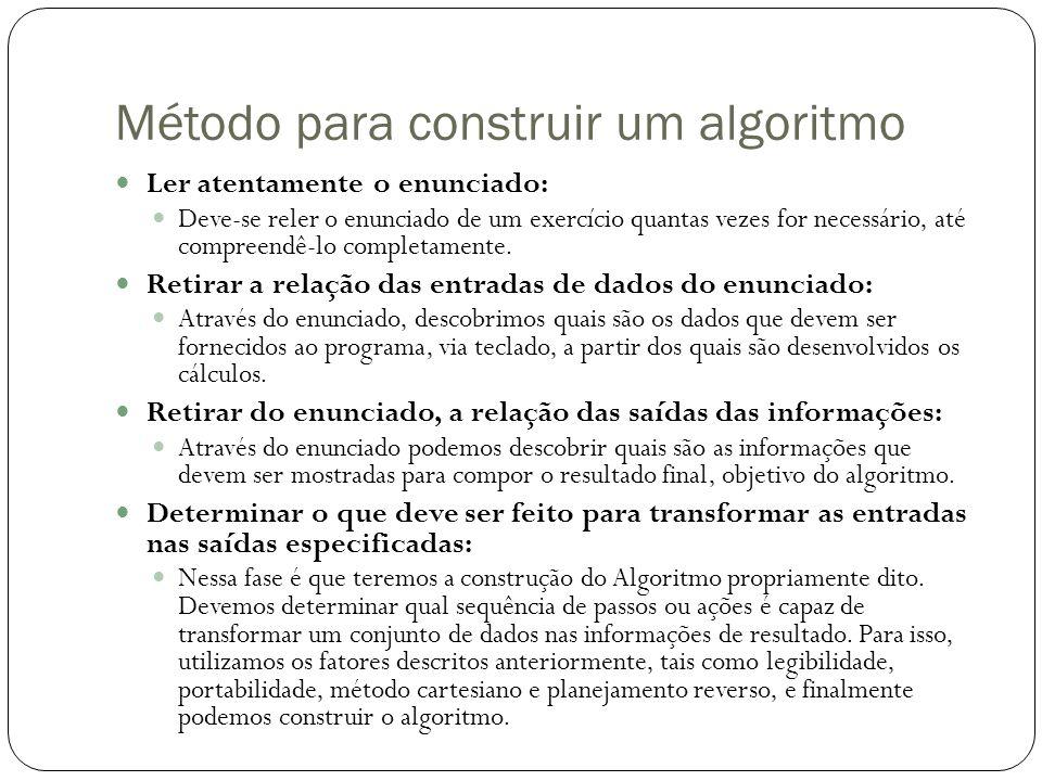 Método para construir um algoritmo