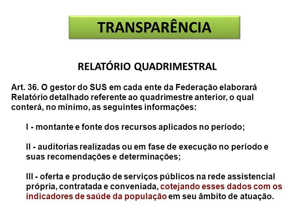 RELATÓRIO QUADRIMESTRAL