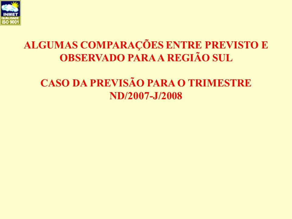 ALGUMAS COMPARAÇÕES ENTRE PREVISTO E OBSERVADO PARA A REGIÃO SUL