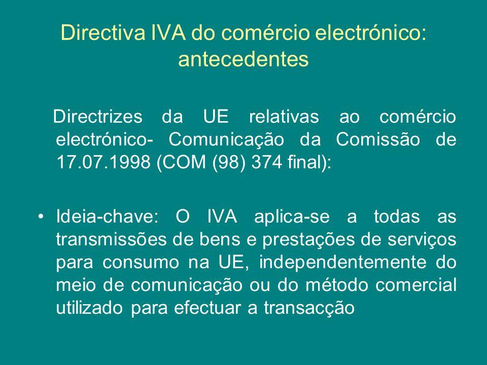 Directiva IVA do comércio electrónico: antecedentes
