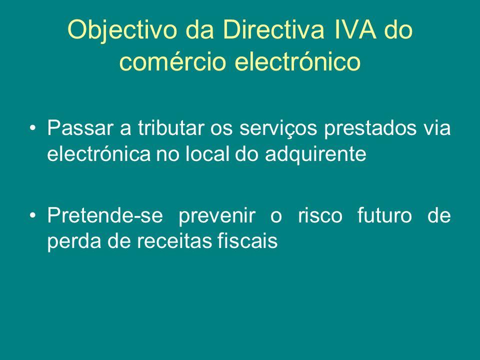 Objectivo da Directiva IVA do comércio electrónico