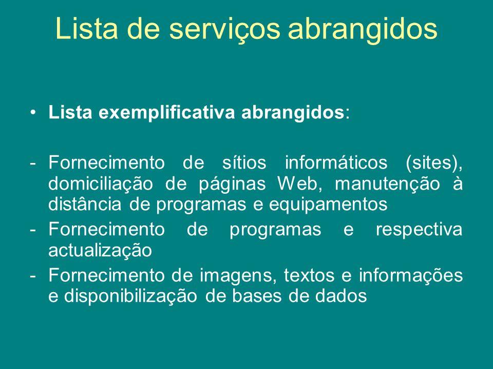Lista de serviços abrangidos