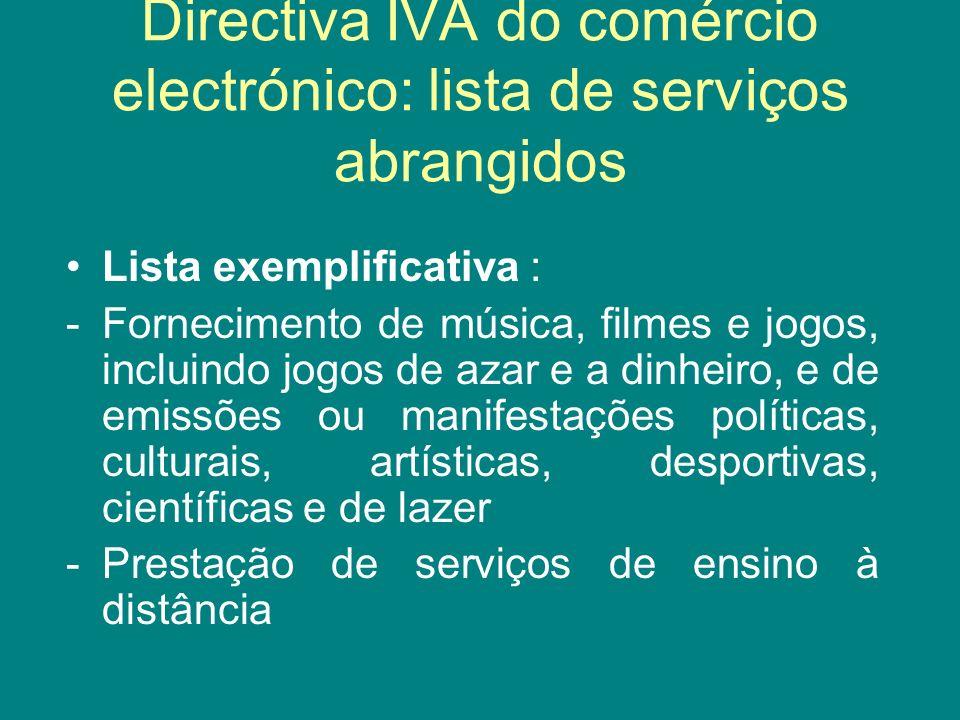 Directiva IVA do comércio electrónico: lista de serviços abrangidos