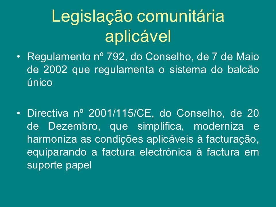 Legislação comunitária aplicável