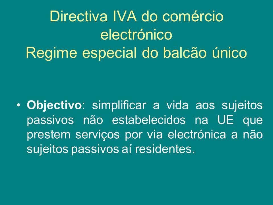 Directiva IVA do comércio electrónico Regime especial do balcão único