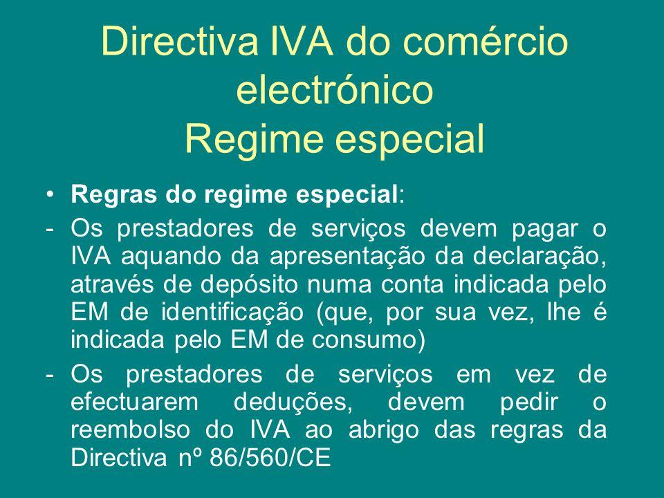 Directiva IVA do comércio electrónico Regime especial