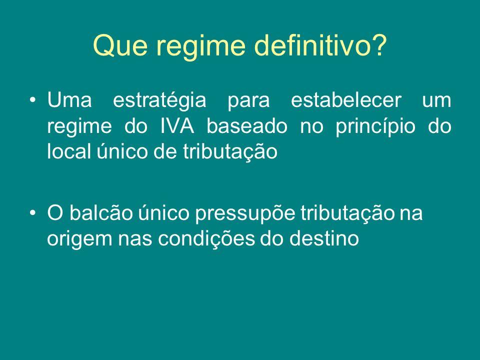 Que regime definitivo Uma estratégia para estabelecer um regime do IVA baseado no princípio do local único de tributação.