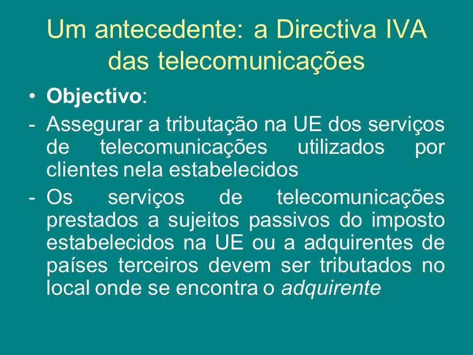 Um antecedente: a Directiva IVA das telecomunicações