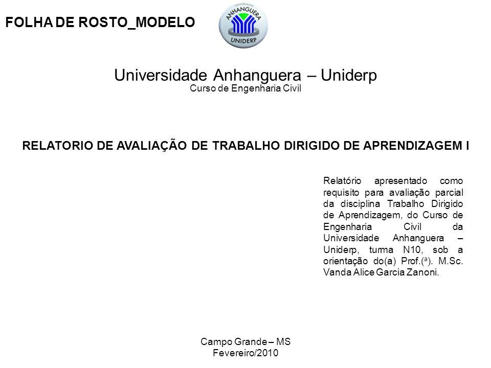 RELATORIO DE AVALIAÇÃO DE TRABALHO DIRIGIDO DE APRENDIZAGEM I