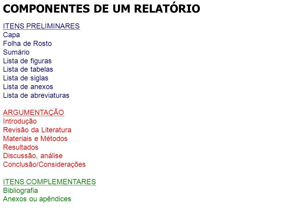 COMPONENTES DE UM RELATÓRIO