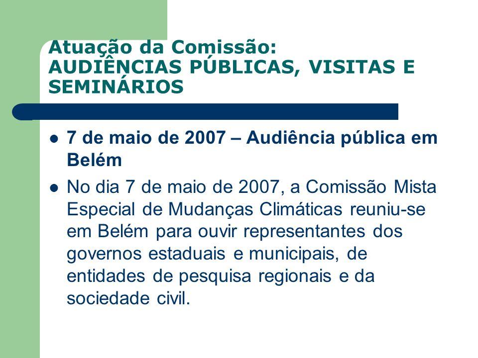Atuação da Comissão: AUDIÊNCIAS PÚBLICAS, VISITAS E SEMINÁRIOS