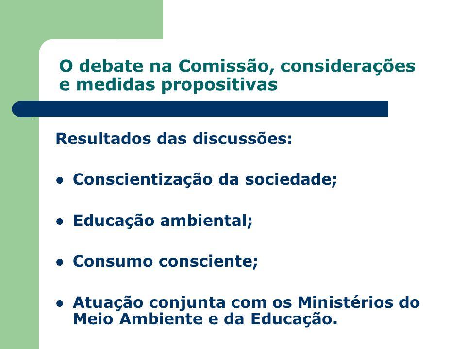 O debate na Comissão, considerações e medidas propositivas