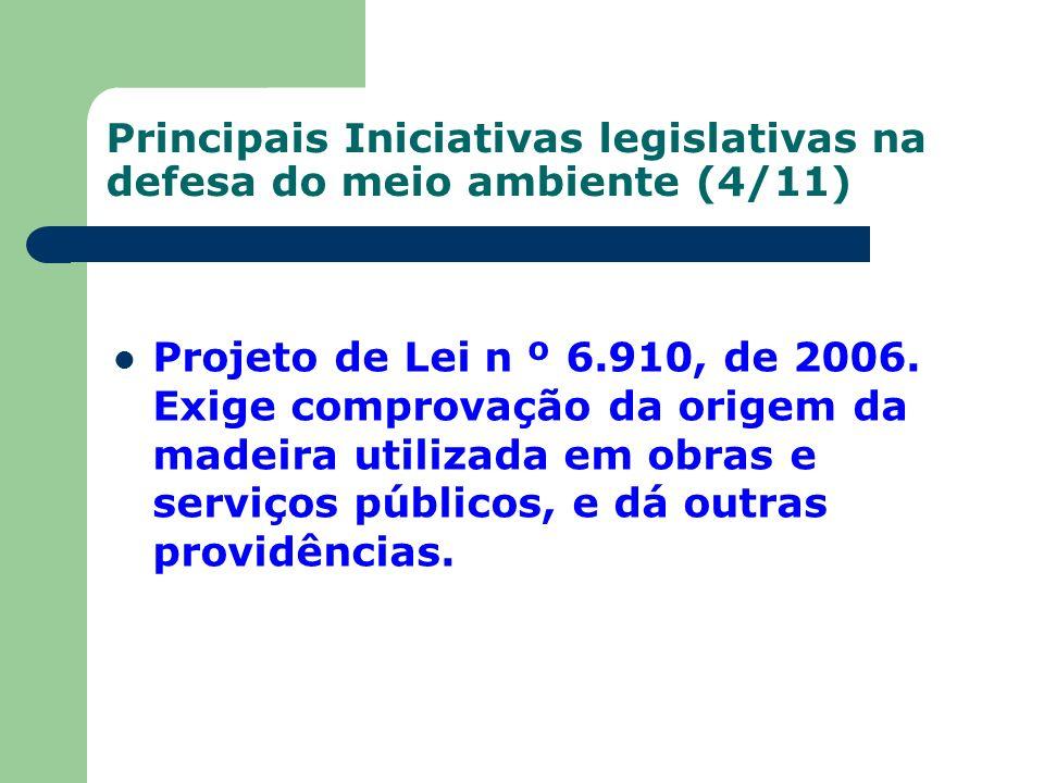 Principais Iniciativas legislativas na defesa do meio ambiente (4/11)