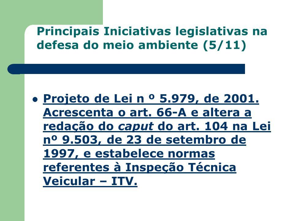 Principais Iniciativas legislativas na defesa do meio ambiente (5/11)