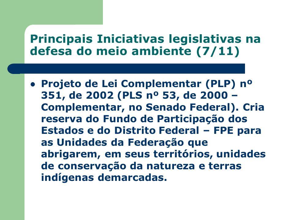 Principais Iniciativas legislativas na defesa do meio ambiente (7/11)