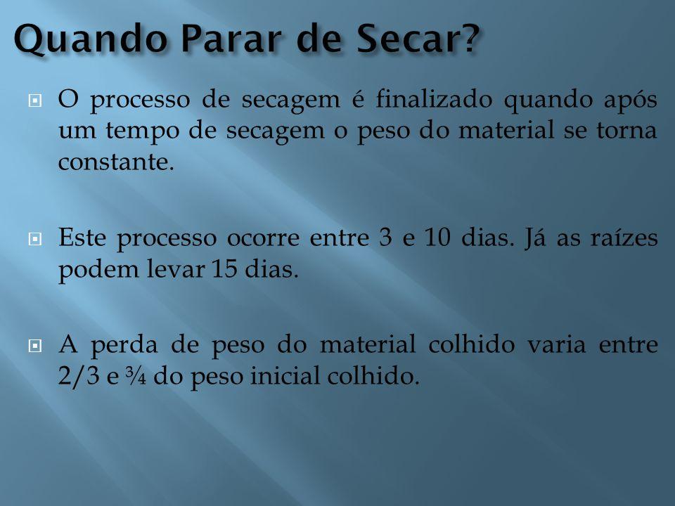 Quando Parar de Secar O processo de secagem é finalizado quando após um tempo de secagem o peso do material se torna constante.