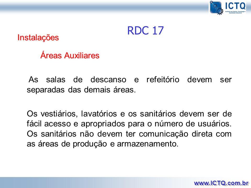 RDC 17 Instalações Áreas Auxiliares