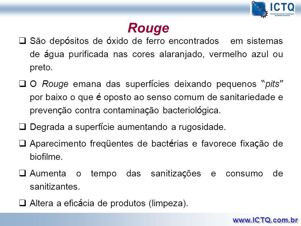 Rouge São depósitos de óxido de ferro encontrados em sistemas de água purificada nas cores alaranjado, vermelho azul ou preto.