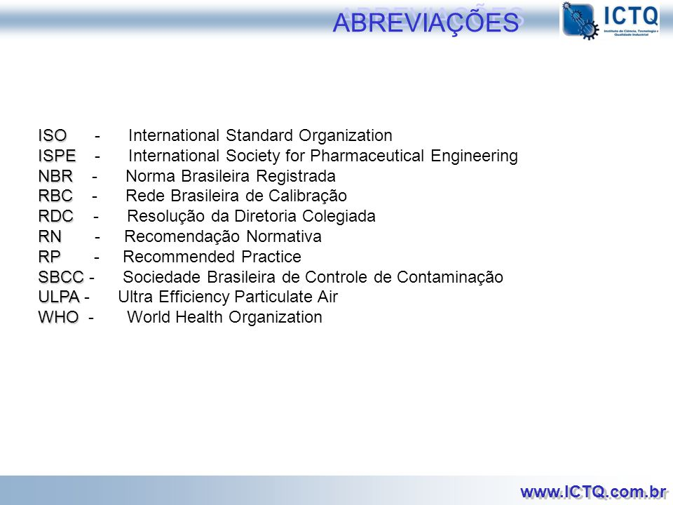 ABREVIAÇÕES ISO - International Standard Organization