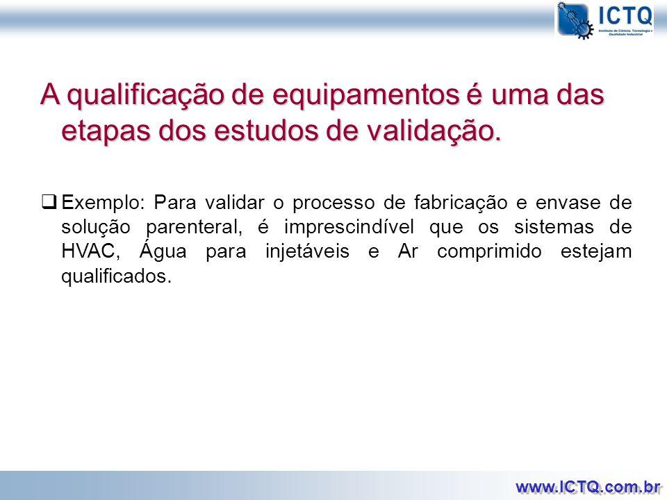 A qualificação de equipamentos é uma das etapas dos estudos de validação.