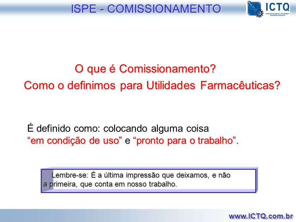 ISPE - COMISSIONAMENTO
