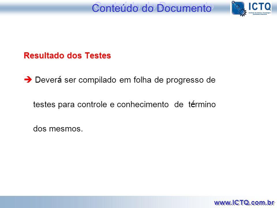 Conteúdo do Documento Resultado dos Testes