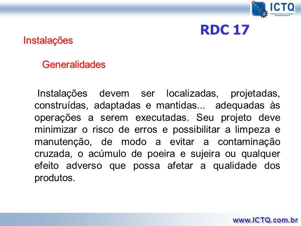 RDC 17 Instalações. Generalidades.
