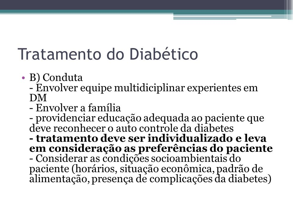 Tratamento do Diabético