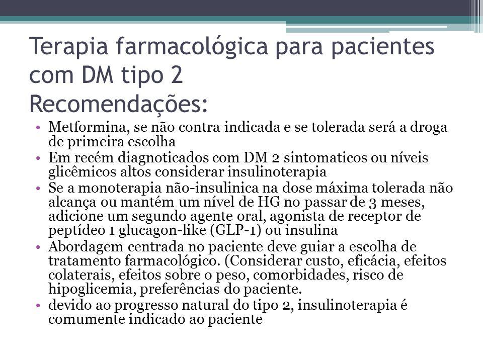 Terapia farmacológica para pacientes com DM tipo 2 Recomendações: