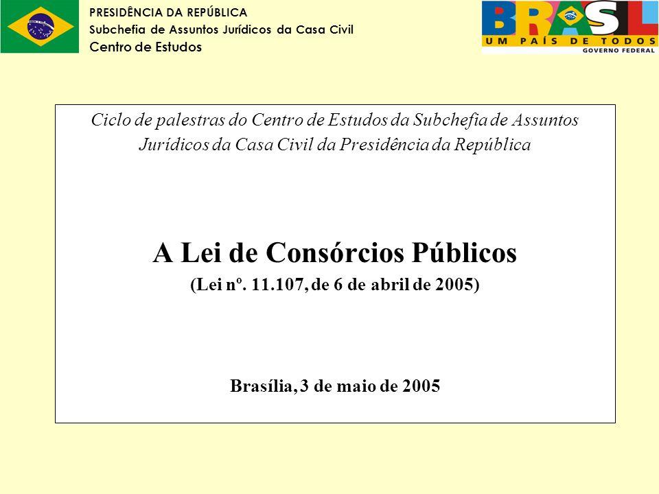 Ciclo de palestras do Centro de Estudos da Subchefia de Assuntos Jurídicos da Casa Civil da Presidência da República A Lei de Consórcios Públicos (Lei nº.