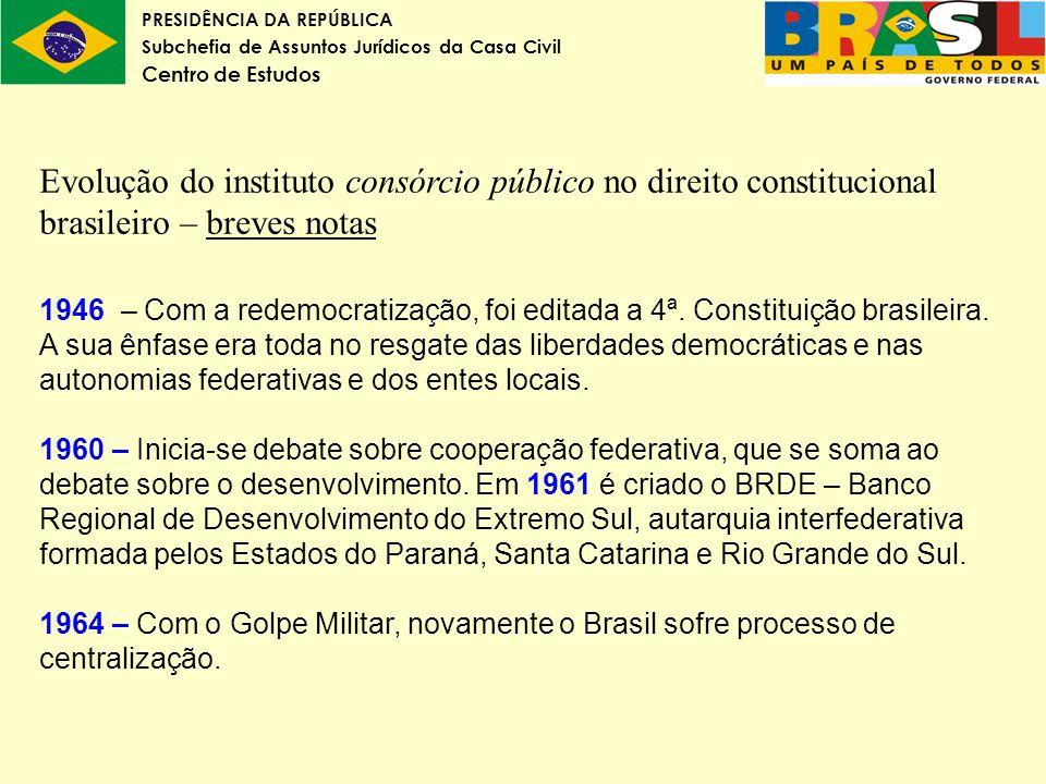 Evolução do instituto consórcio público no direito constitucional brasileiro – breves notas