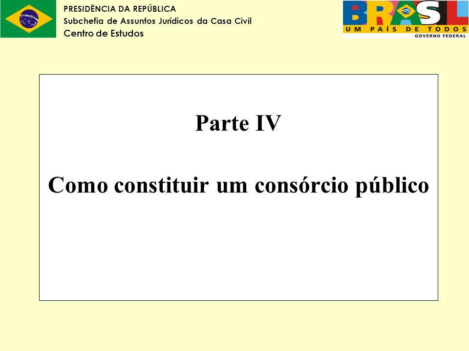 Parte IV Como constituir um consórcio público