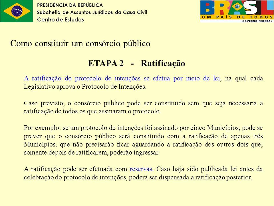 Como constituir um consórcio público ETAPA 2 - Ratificação