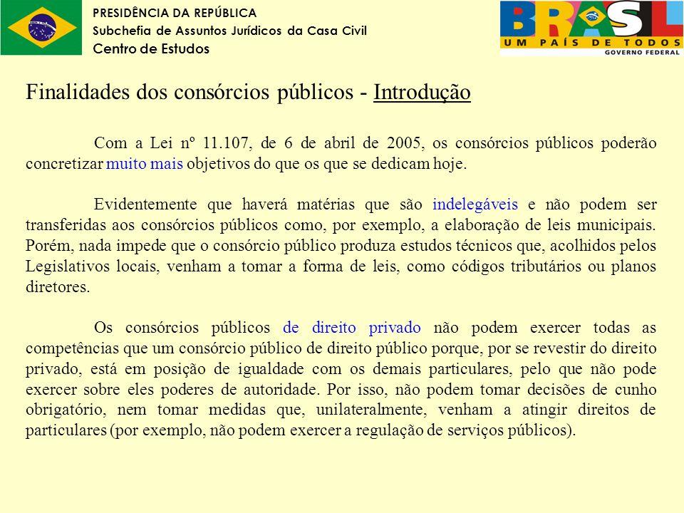 Finalidades dos consórcios públicos - Introdução