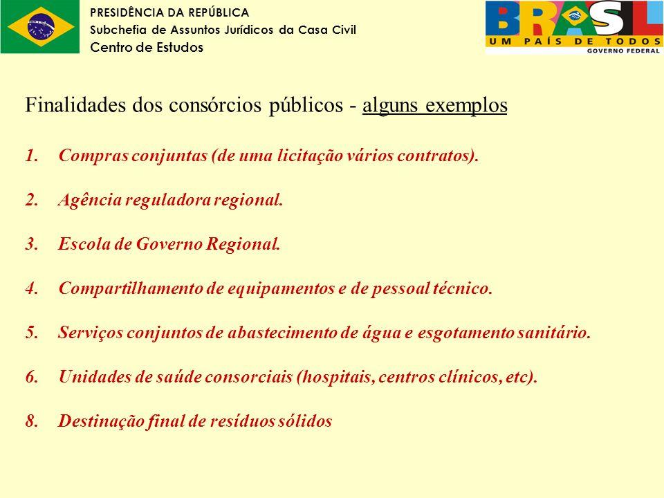 Finalidades dos consórcios públicos - alguns exemplos